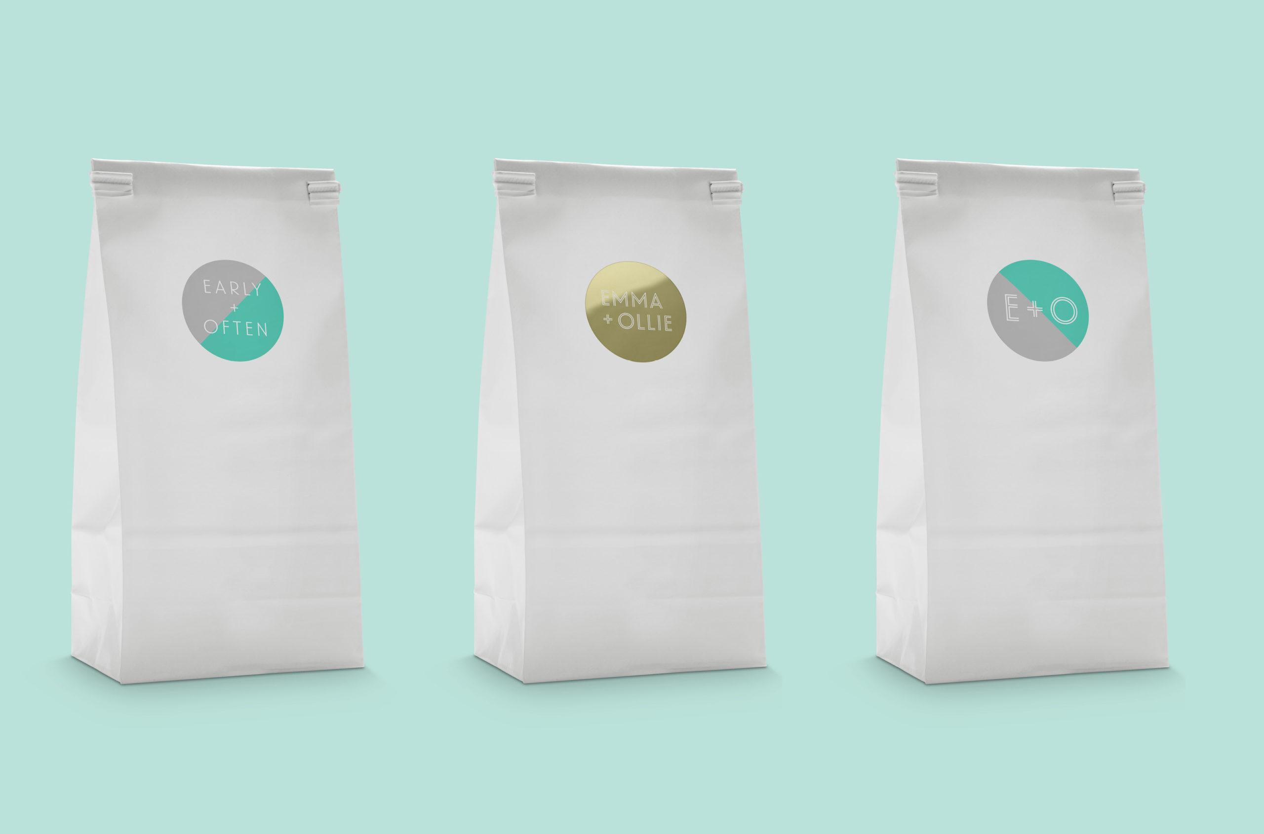 E+O sticker bags