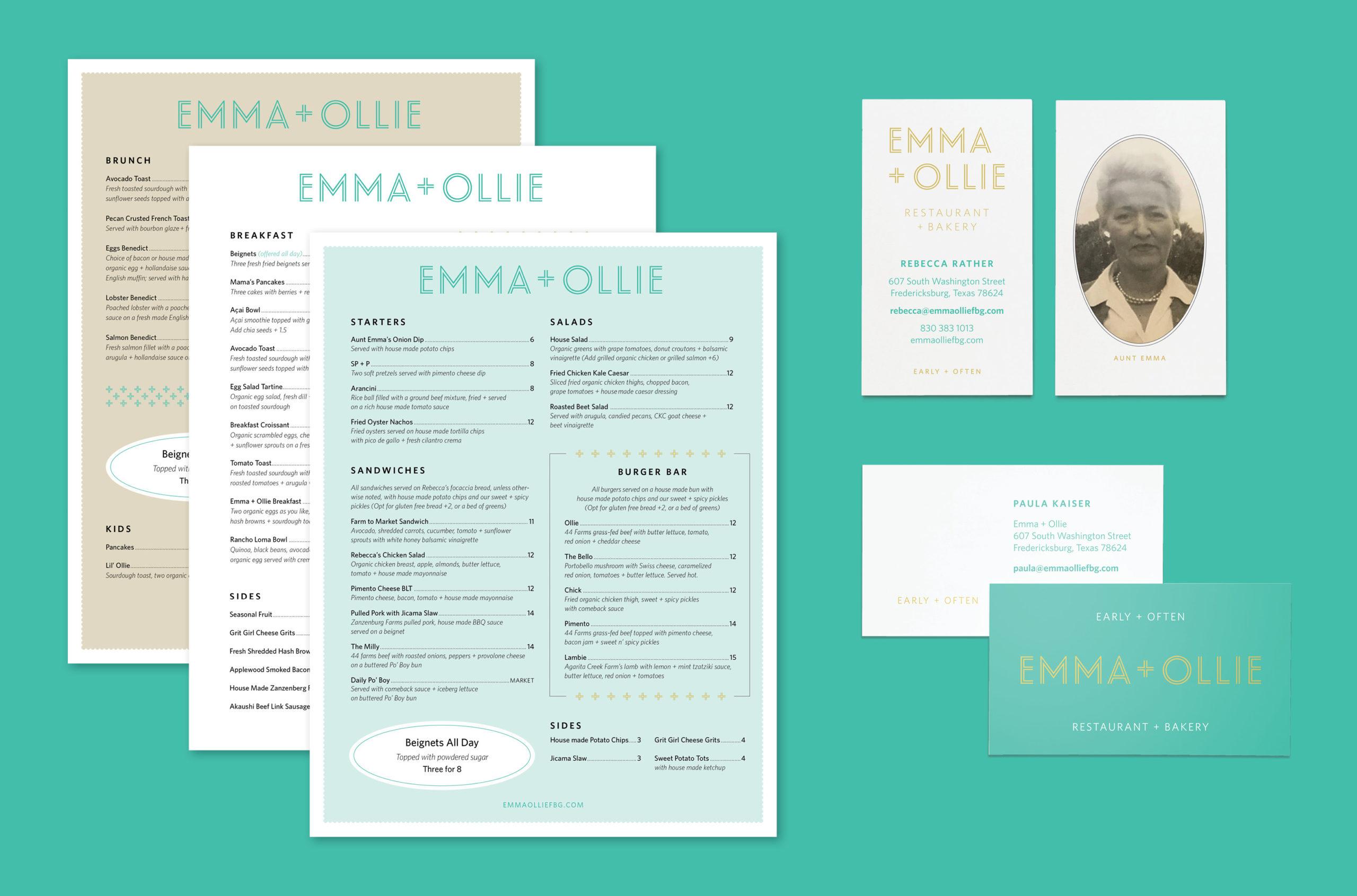 E+O menus and cards